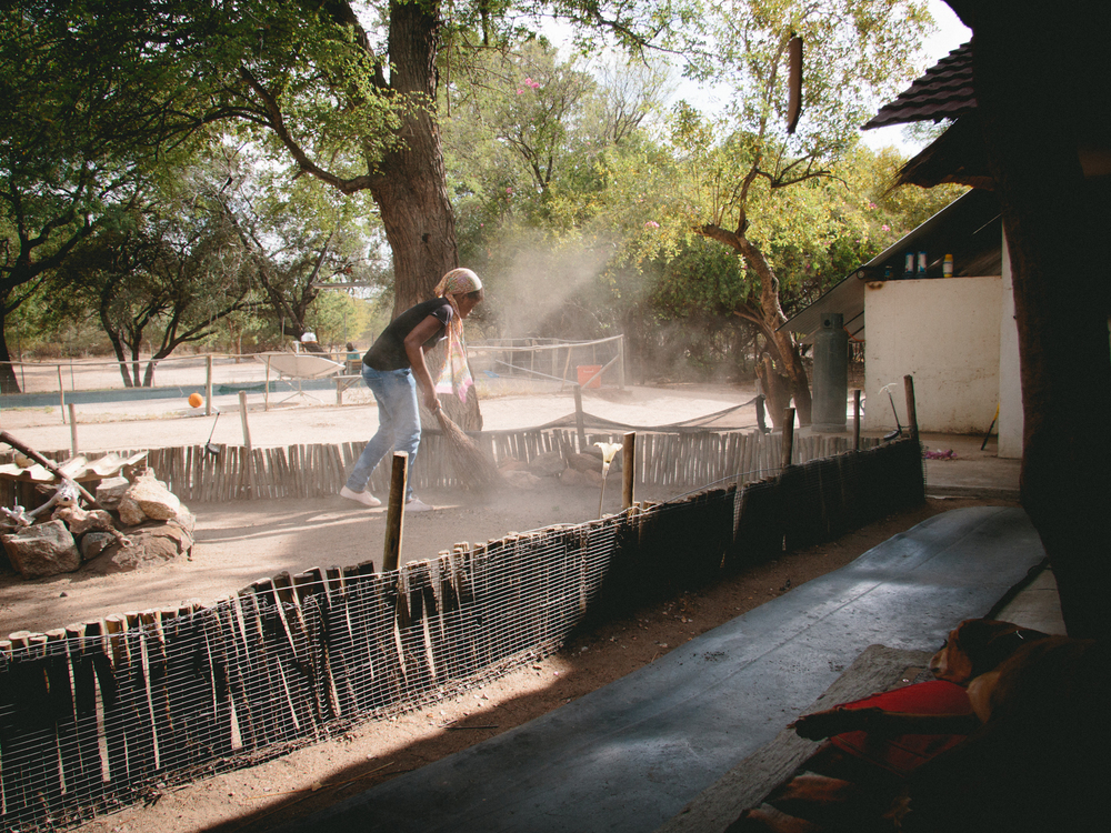 Students have various daily tasks, such as cleaning the animal pens.