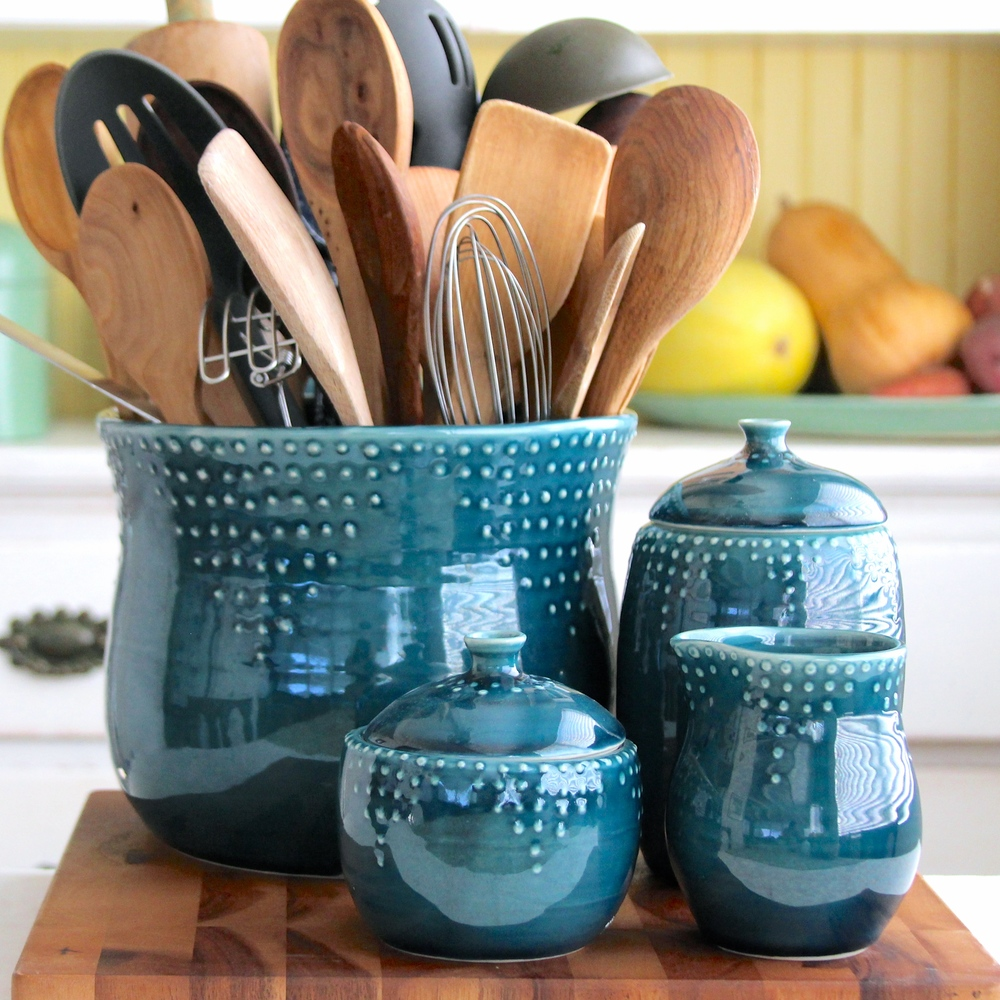 Extra Large Utensil Holder in Deep Sea Blue