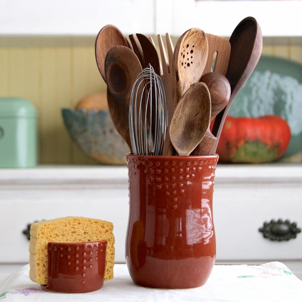 Kitchen Utensil Holder Medium Utensil Holder Vase Back Bay Pottery