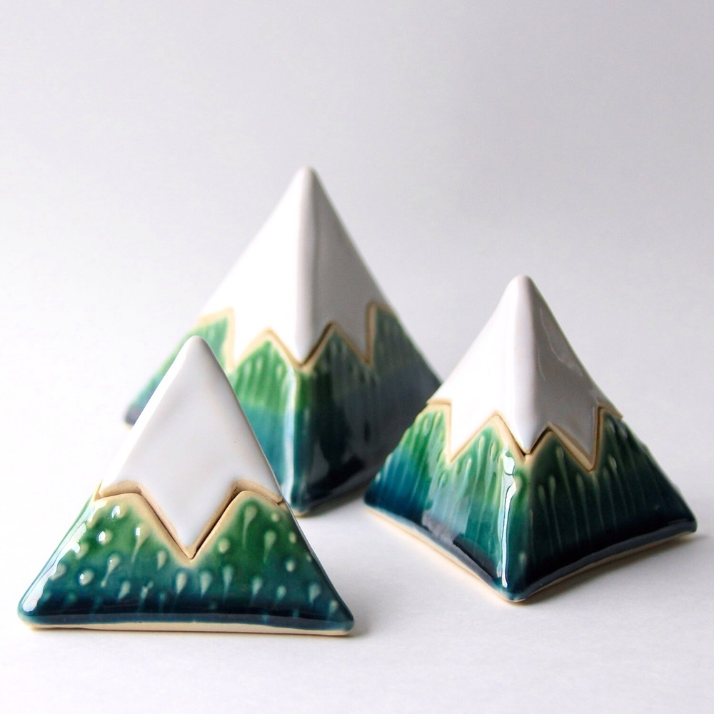 Mountain Boxes glazed in Deep Sea Blue & Emerald Green