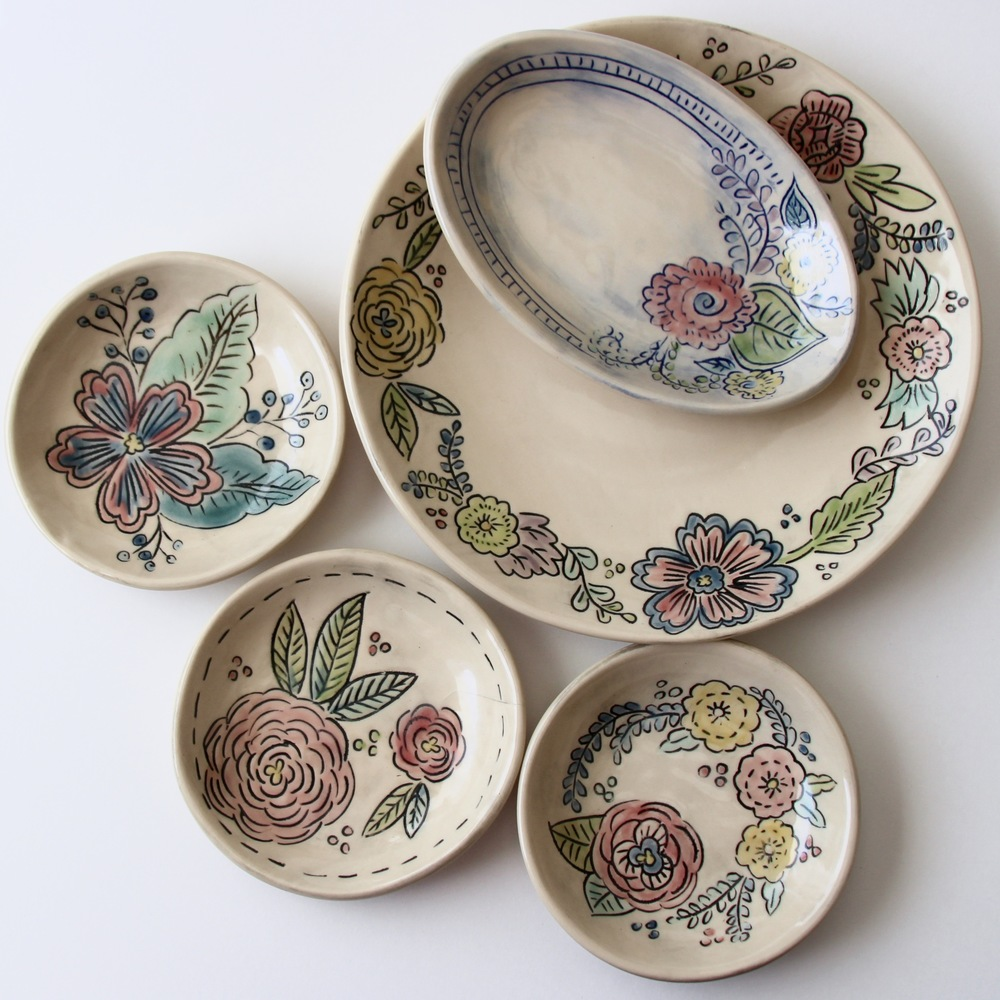 Mishima Floral Dishes