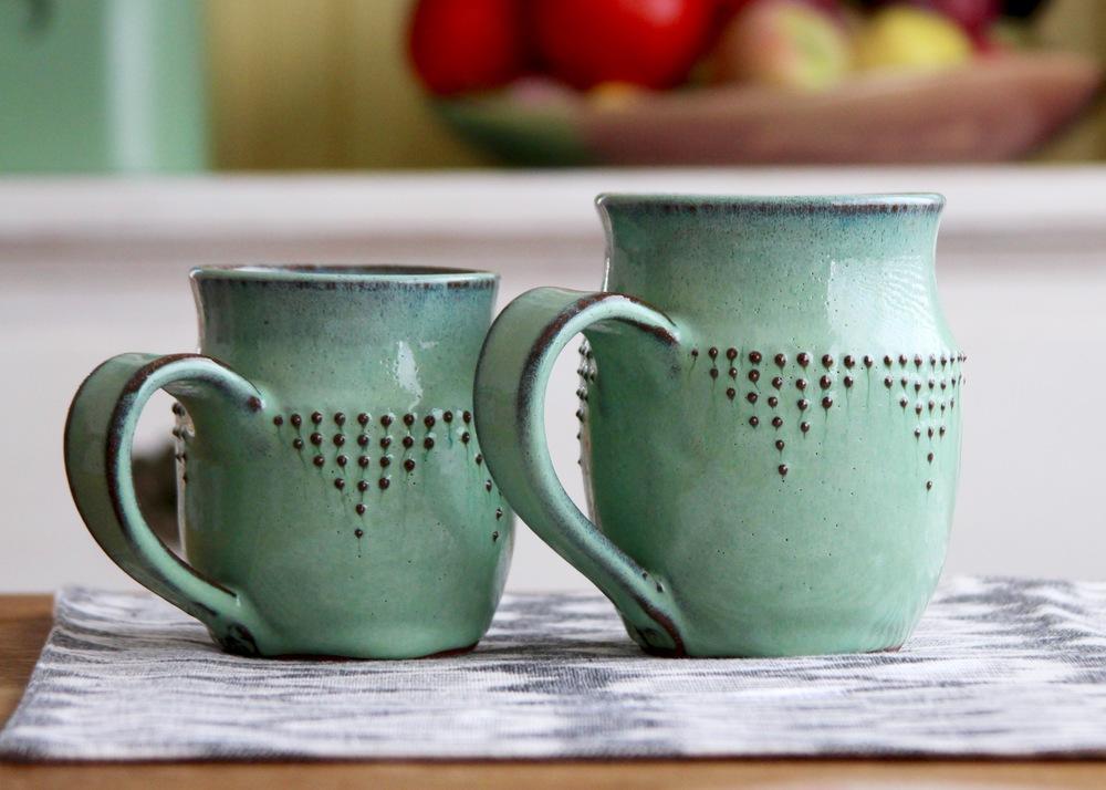 Stoneware Mugs in Aqua Mist
