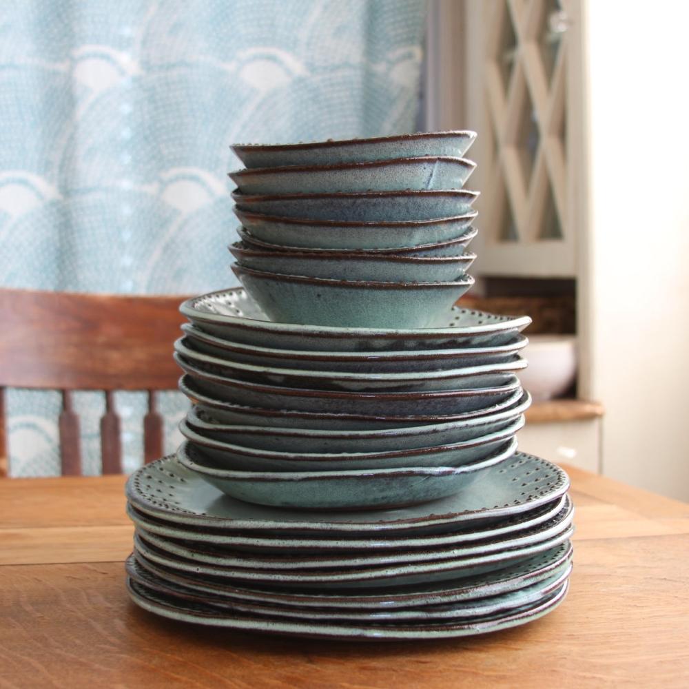 Handmade Dinnerware in Aqua Mist