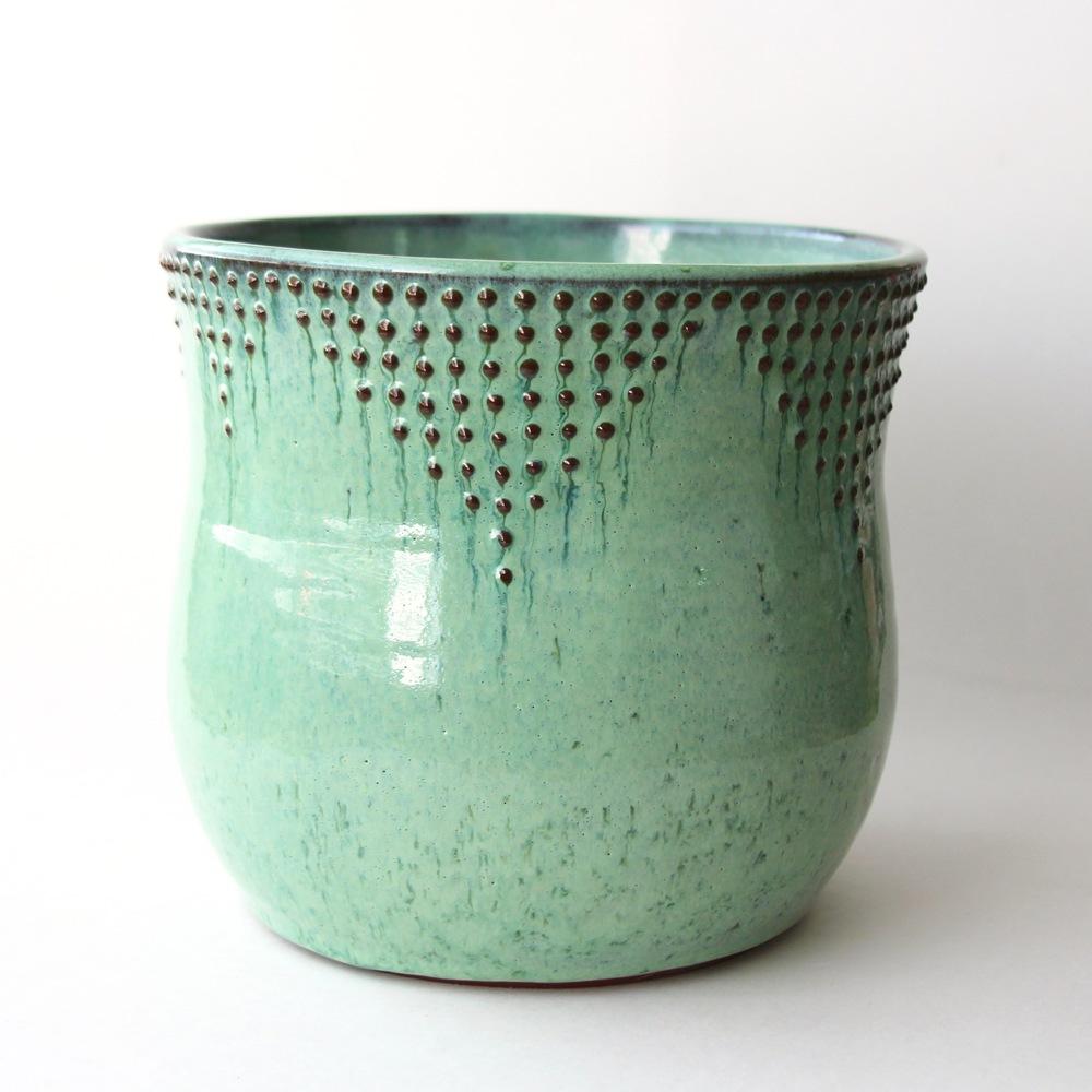 Extra Large Utensil Holder Aqua Mist Back Bay Pottery