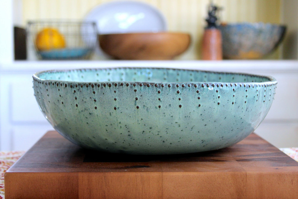 Fantastic Extra Large Serving Bowl in Aqua Mist — Back Bay Pottery ZZ53