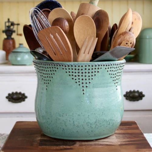 Jumbo Utensil Holder in Aqua Mist — Back Bay Pottery