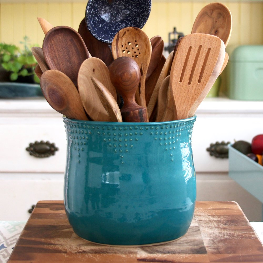 Extra Large Utensil Holder - 16 Color Choices — Back Bay Pottery