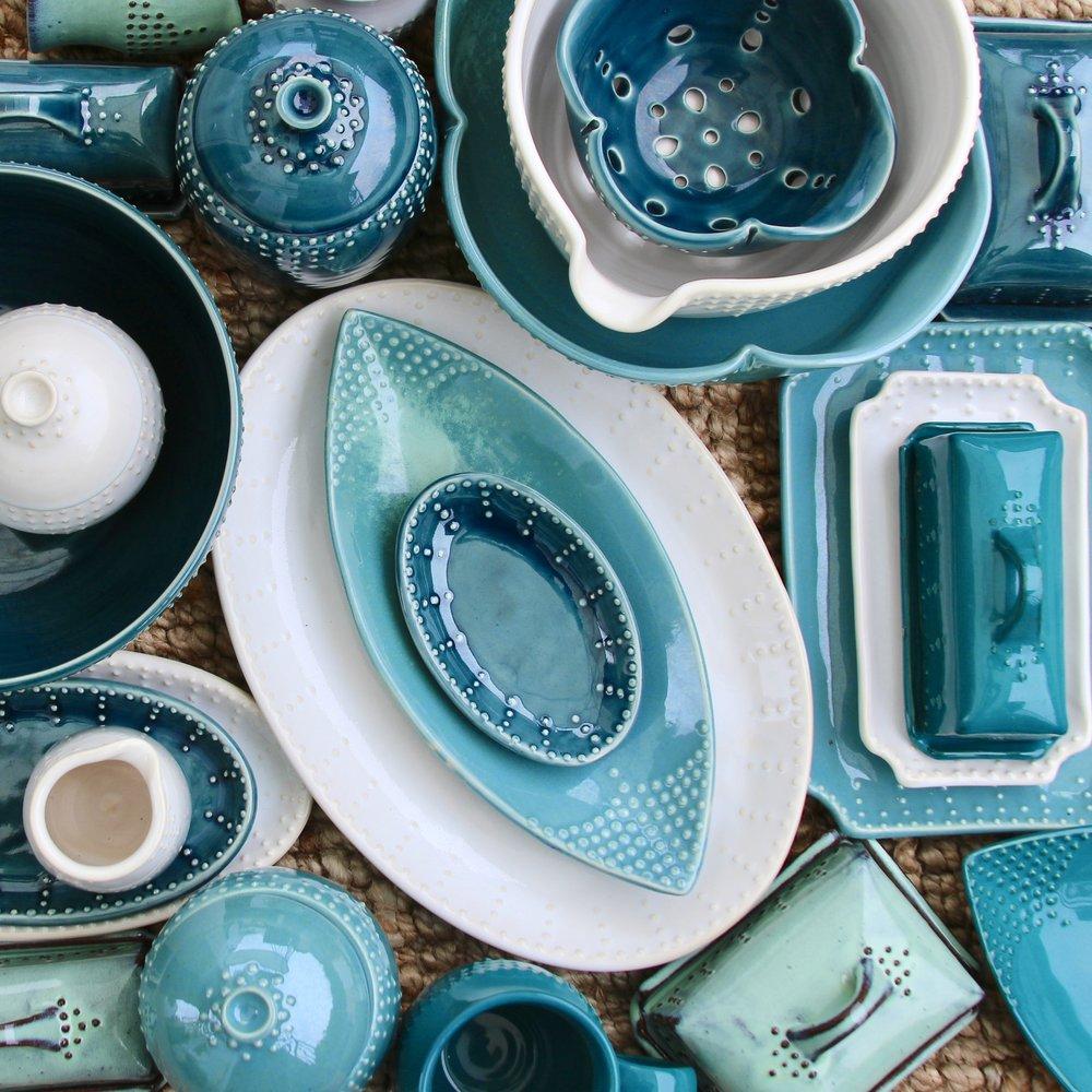Blue Pottery by Back Bay Pottery