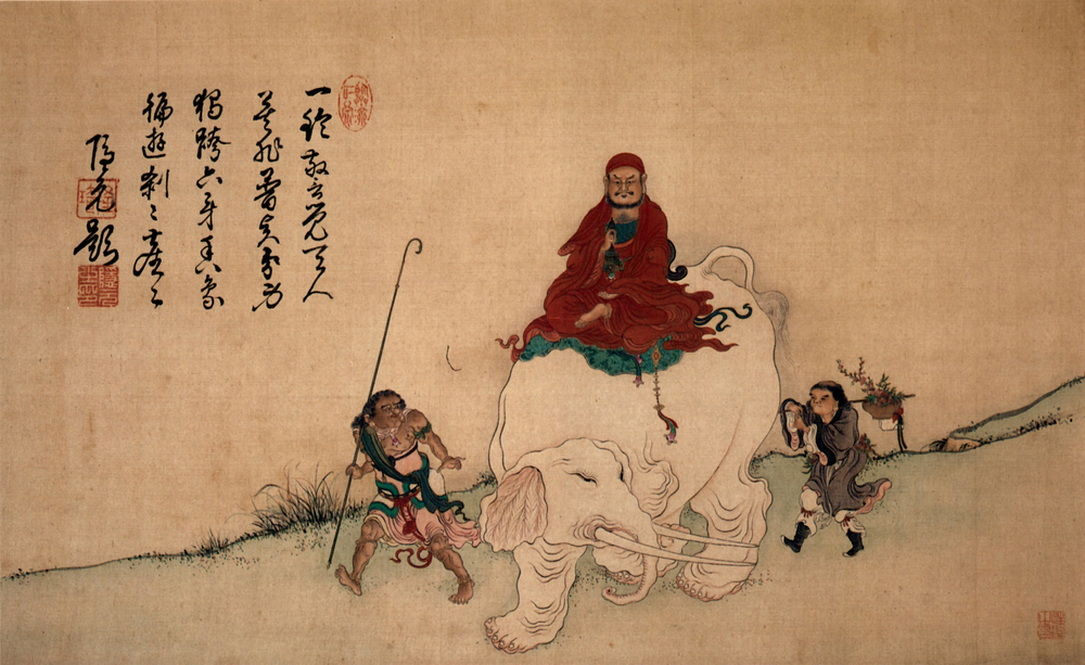 Bodhidharma_on_Elephant_Yiran_Inscription_by_Yinyuan_color_on_silk_hanging_scroll.jpg
