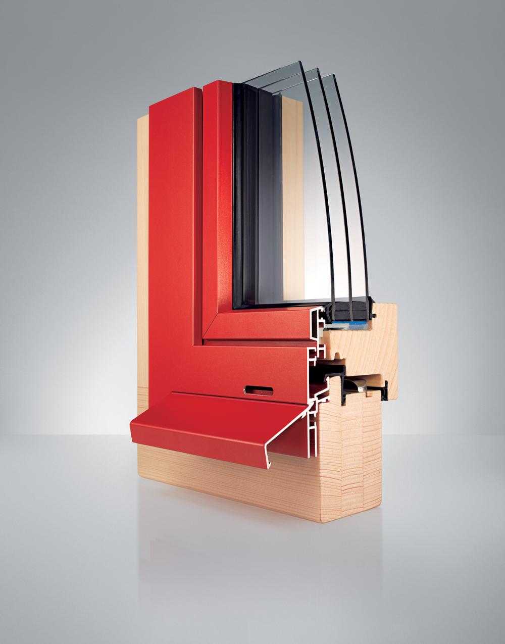 Profil Holz/alu-Fenster WS1 teilflächenversetzt