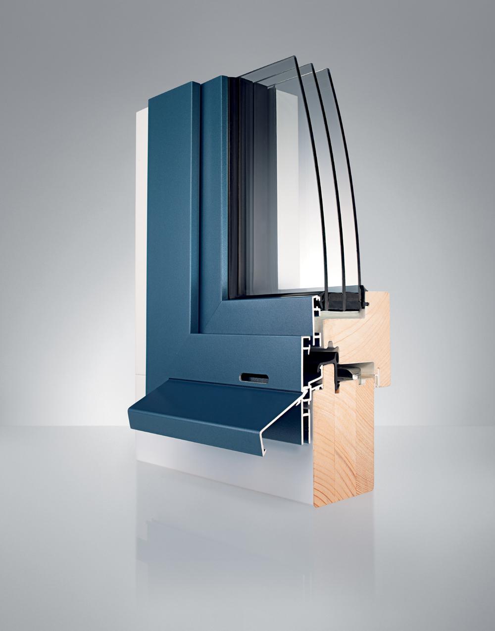 Profil Holz/alu-Fenster WS1 vollflächenverseetzt