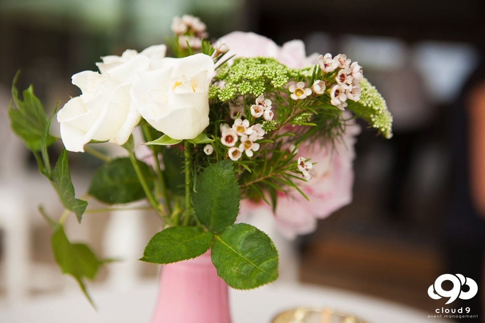 Beautiful blooms in pink vases