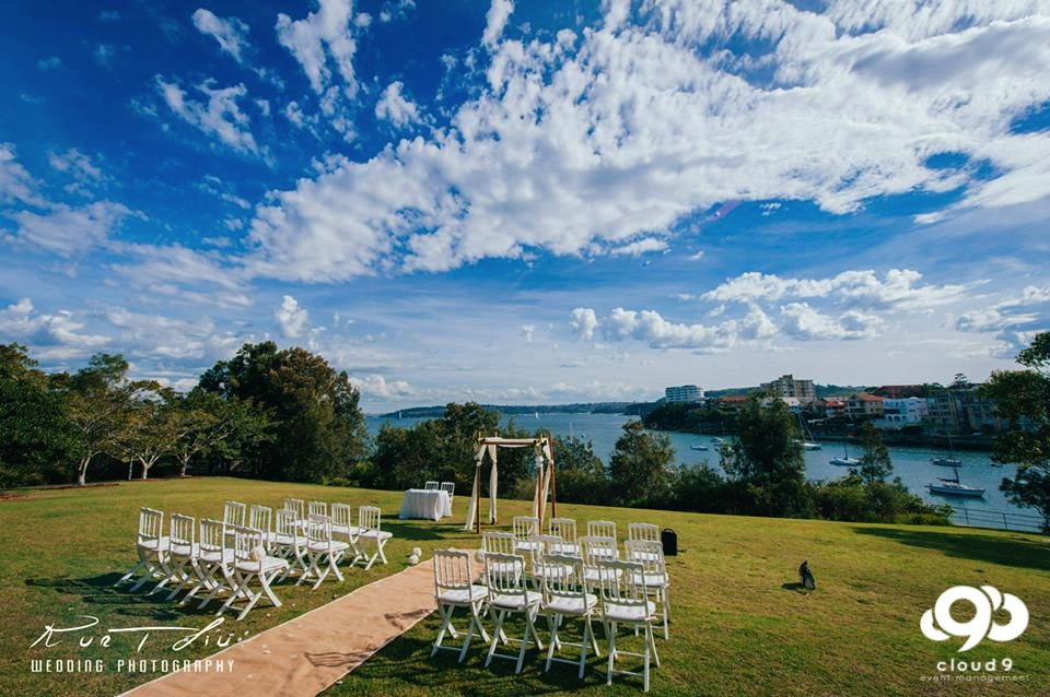 Headland Wedding Ceremony: with a waterfront view