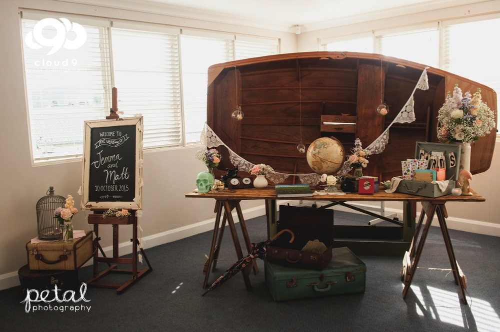Reception Entrance Foyer - Vintage inspired welcome sign & gift table