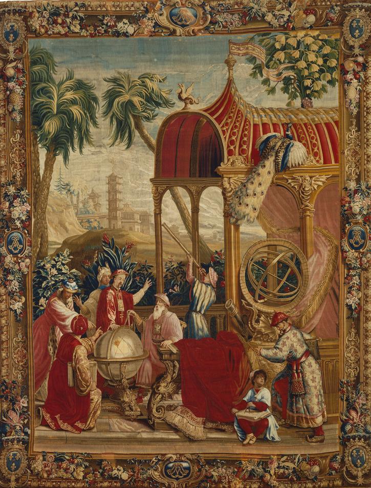 Beauvais Manufactory,     Tapestry: Les Astronomes from L'Histoire de l'empereur de la Chine Series    , ca. 1697-1705 (The J. Paul Getty Museum).
