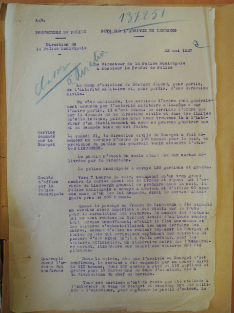 Page one of the 23 May 1927 Police Report concerning Charles Lindbergh's arrival in Paris after his transatlantic flight (Archives de la Préfecture de Police de Paris).