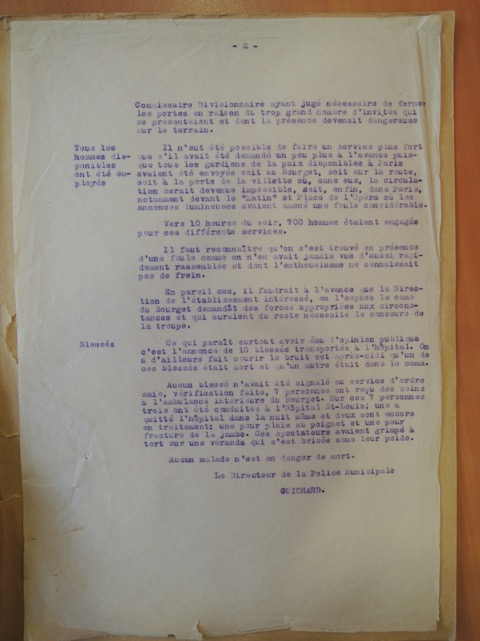 Page two of the 23 May 1927 Police Report concerning Charles Lindbergh's arrival in Paris after his transatlantic flight (Archives de la Préfecture de Police de Paris).