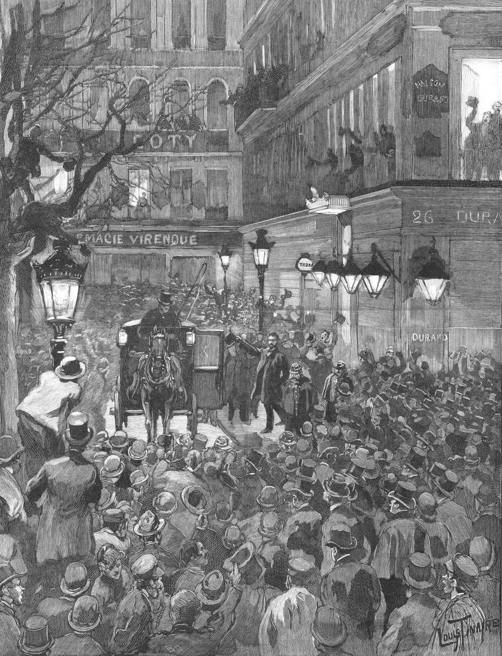 A multidão observa Boulanger sair do Restaurante Durand após a sua vitória eleitoral.  M. Louis Tinayre,  Le Monde illustré , 2 de fevereiro 1889 (Wikimedia Commons).