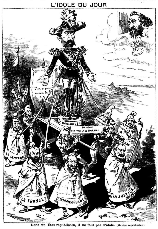 """Charge pintando Boulanger como o """"Ídolo do Dia"""". Diferentes jornais carregam o """"Santo Boulanger"""", enquanto Gambetta observa do céu. A legenda diz: """"Em um Estado republicano não se pode ter idolos (máxima republicana)"""".   Le Grelot , 25 de julho 1886 (Wikimedia Commons)"""