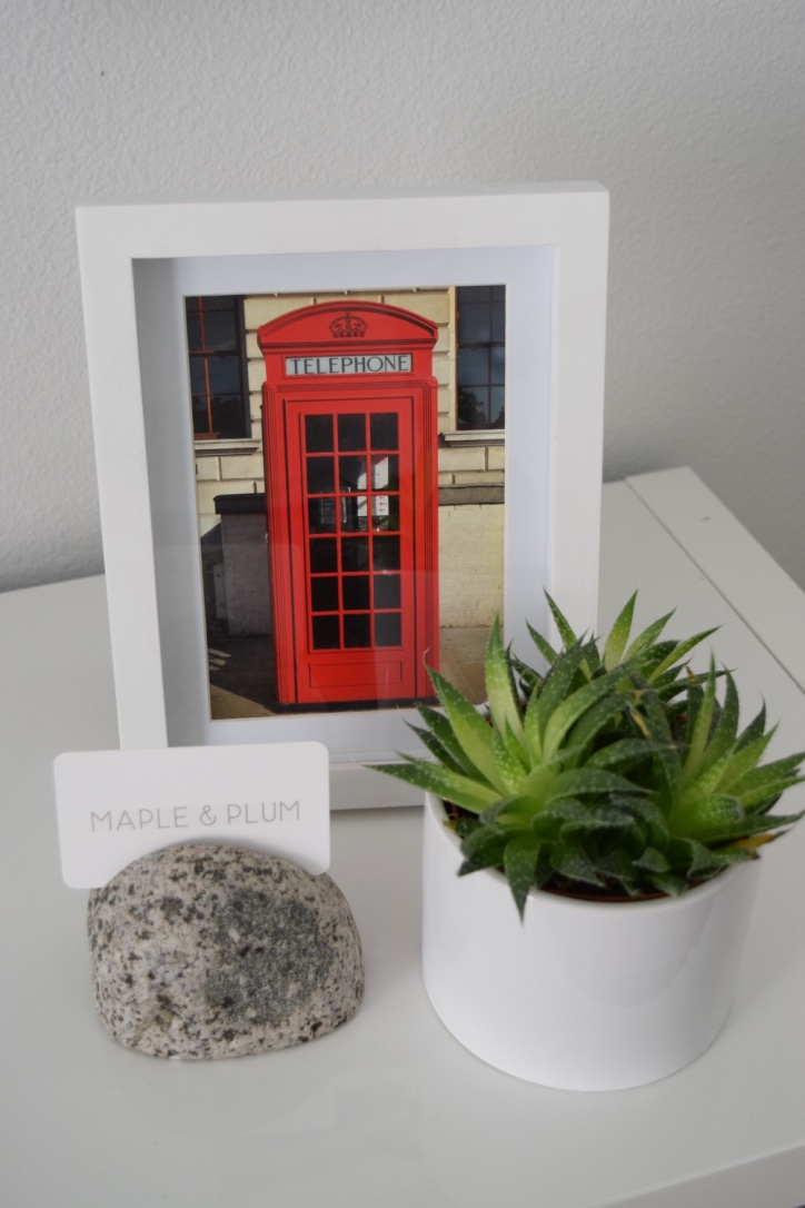 A Post Card we purchased in London to remind us of our time living across the pond, looks perfect framed in white.