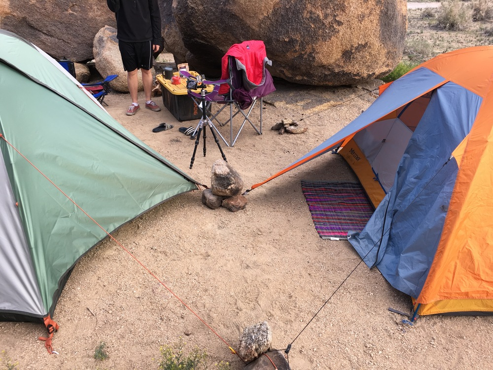 Rocks worked as makeshift tent stakes because the ground was too hard.