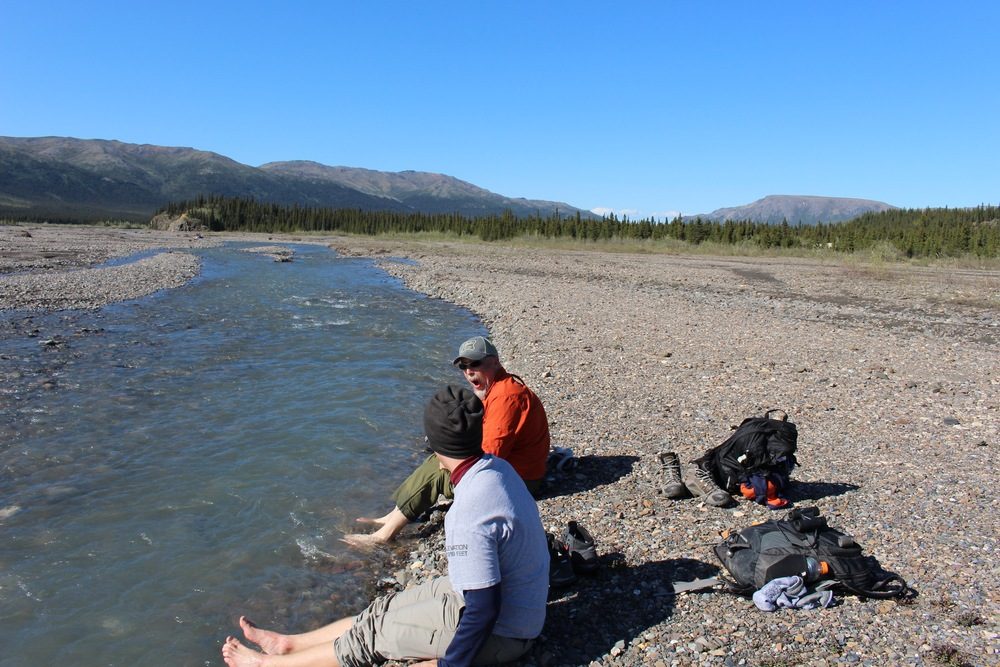 The numbing glacial stream served as nature's ice bath.