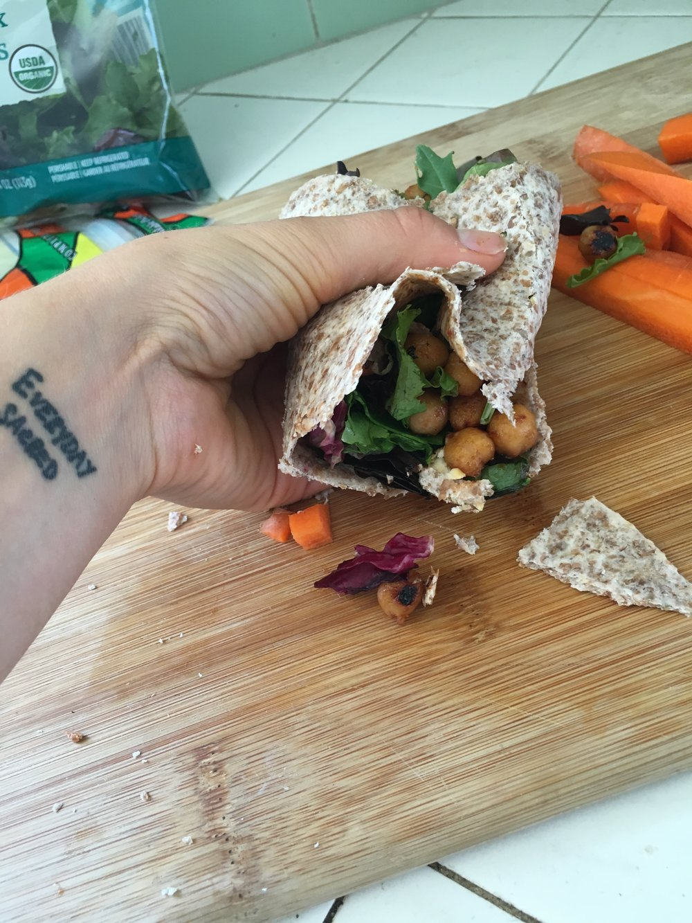Ezekiel wraps are very crumbly, next time I will not be using them.
