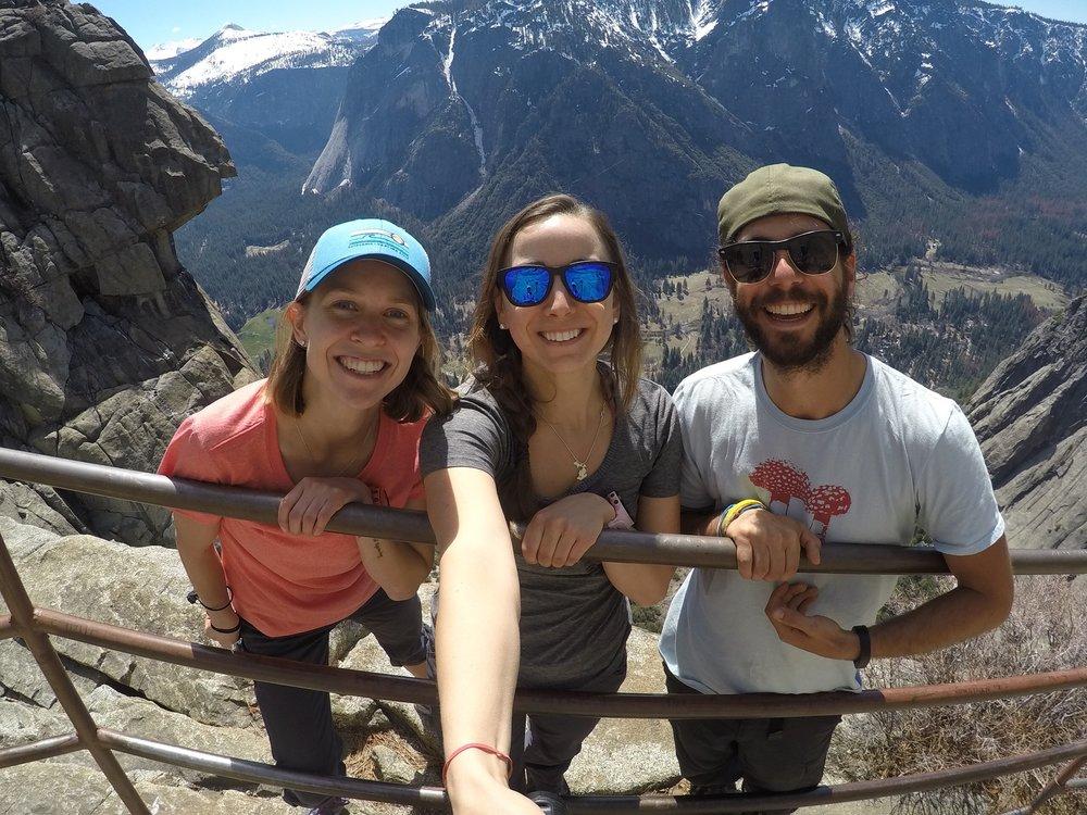 Hannah 1 , Hannah 2 (me), and Alex at the top of Upper Yosemite Falls