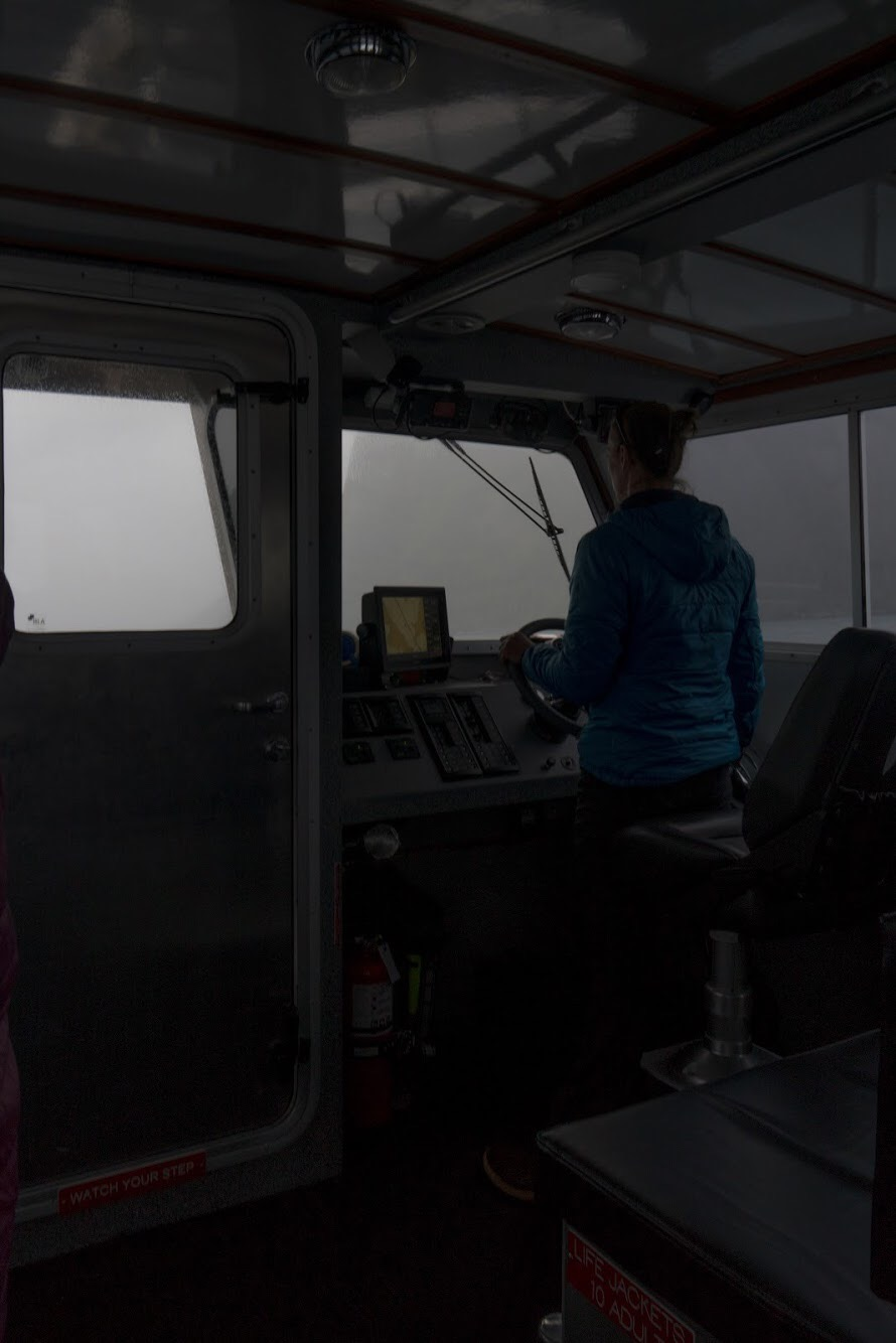 Captain Jess driving through the rain. PC @benjamintfleming