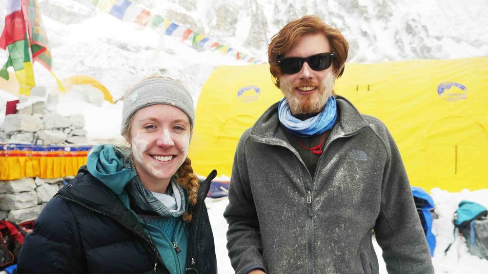 Sierra and Mike at Mount Everest base camp after a Puja ceremony.