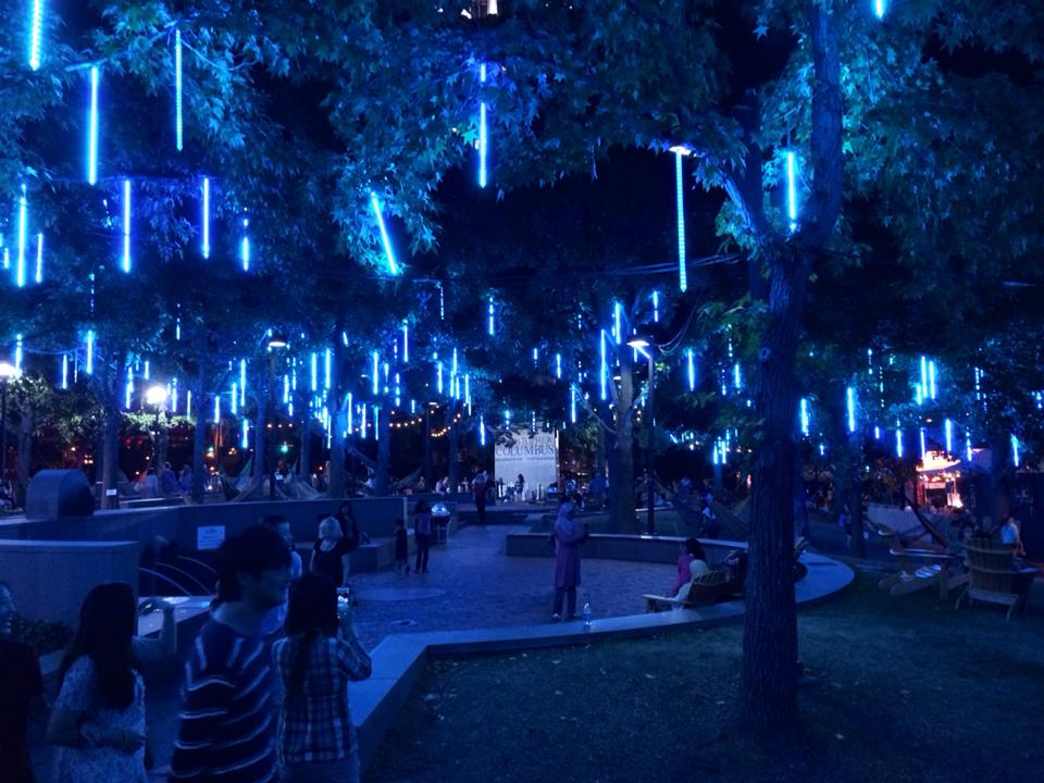 Spruce Street Harbor Park last year. At night, clearly.