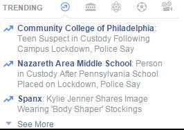 My Facebook trending news on October 6