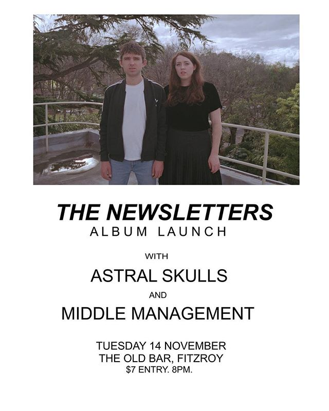 Tonight @theoldbar - The Newsletters launch their incredible new album with us and Middle Management in support. Only $7 (or free before 8).