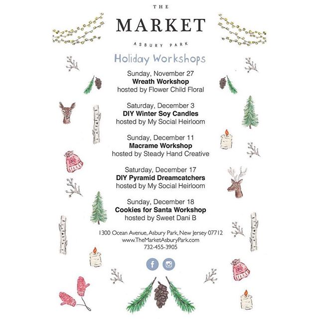 Our kind of Holiday planning! Check out all the fun DIY workshops coming up @themarketasburypark including our DIY Pyramid Dreamcatcher workshop on December 17th! Sign up while there's still a few spots left info@mysocialheirloom.com