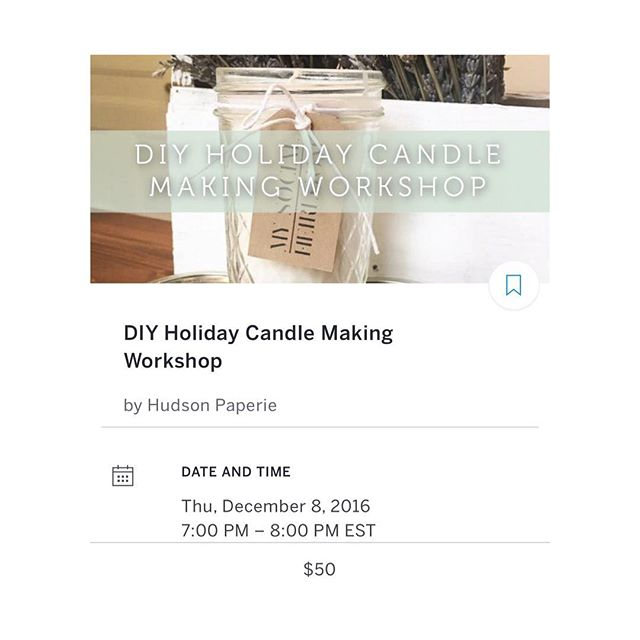We're coming to Hoboken!  Next Thursday, we're creating 🎄 Soy Candles at @hudsonpaperie. This is a small workshop so book your ticket ASAP! Tickets available via Eventbrite 👉🏻https://www.eventbrite.com/e/diy-holiday-candle-making-workshop-tickets-29617392418?aff=es2