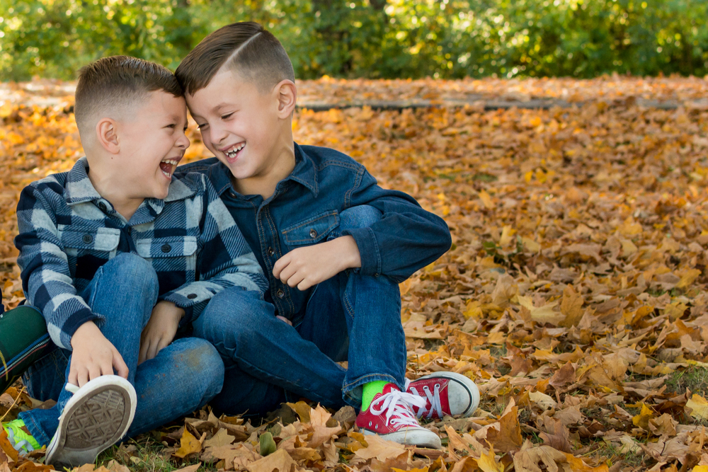 brothers laughing in the fall leaves northern indiana children's photography