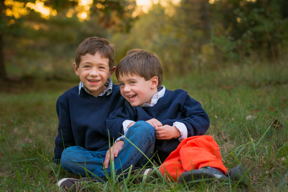 two brothers laughing at sunset fort wayne indiana children's photography