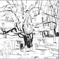 Colouring in outline of Apple Tree with 'Thick-Set Fruit'