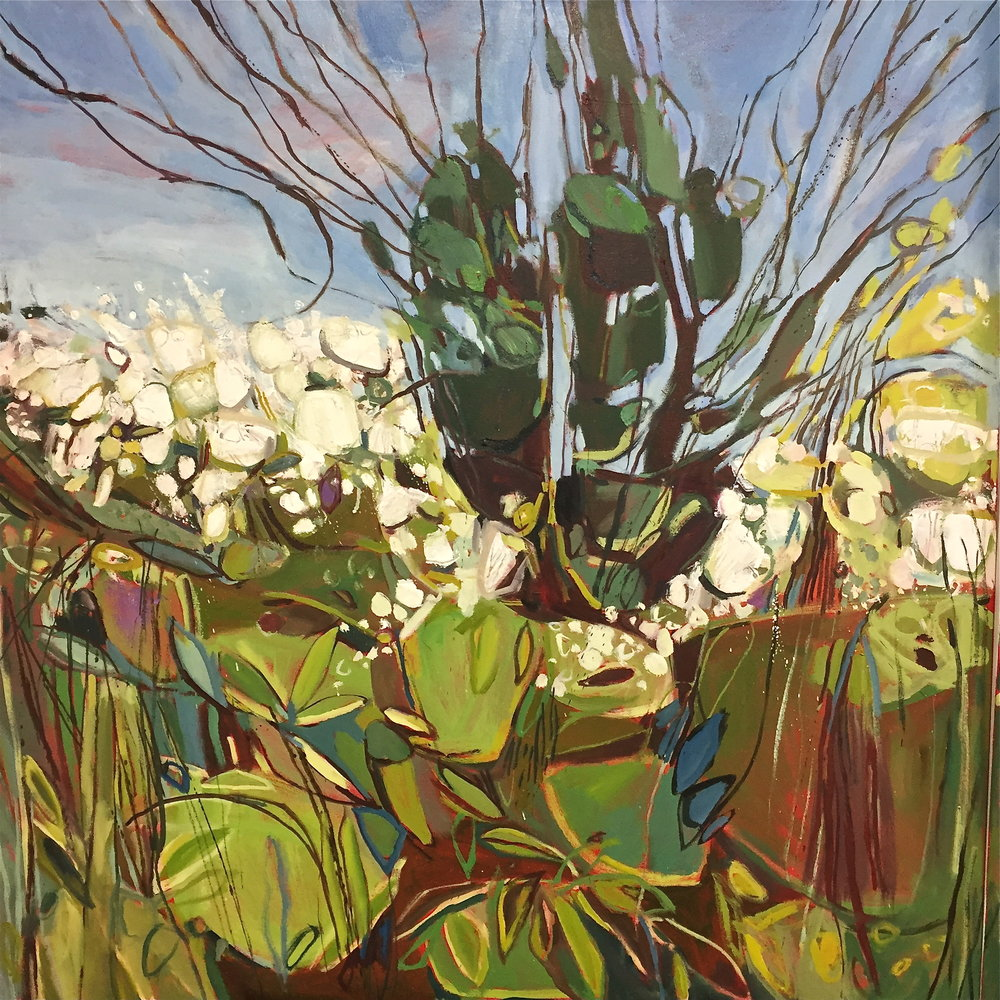 Triptych April Hedgerow, Burford, left panel