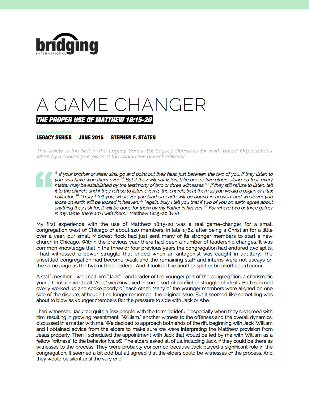 "No. 1 - ""A GAME CHANGER"""