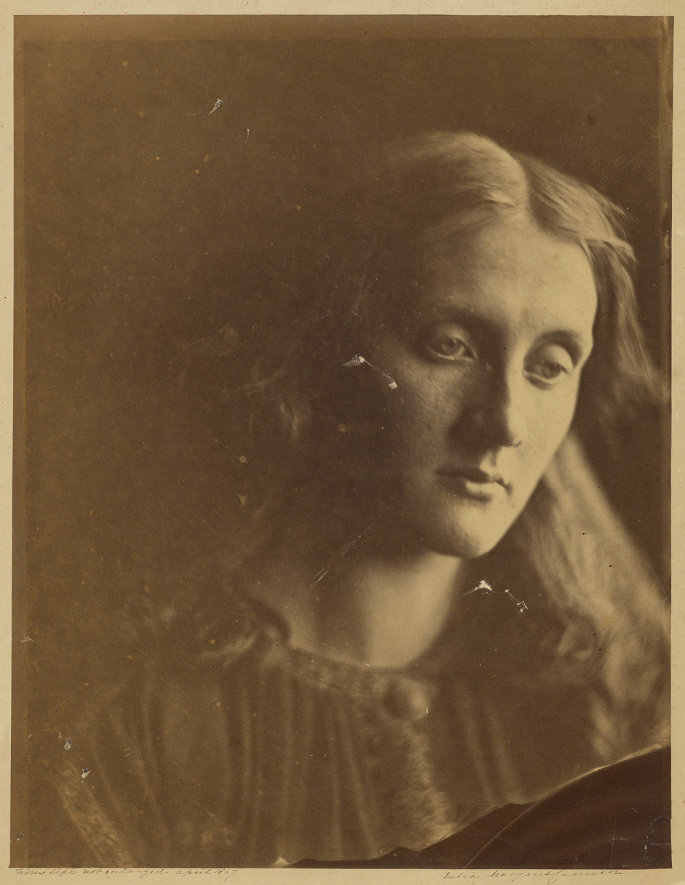 Julia Margaret Cameron (British, born India, 1815 - 1879)  [Julia Jackson],  April 1867, Albumen silver print 34.4 x 26.7 cm (13 9/16 x 10 1/2 in.) The J. Paul Getty Museum, Los Angeles