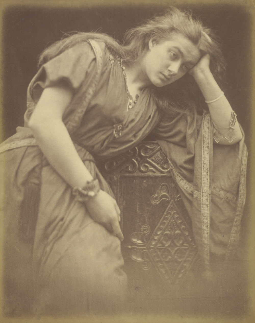 "Julia Margaret Cameron (British, born India, 1815 - 1879)  Mariana/""She said I am aweary aweary I would that I were dead"",  1875, Albumen silver print 35.6 x 27.9 cm (14 x 11 in.) The J. Paul Getty Museum, Los Angeles"