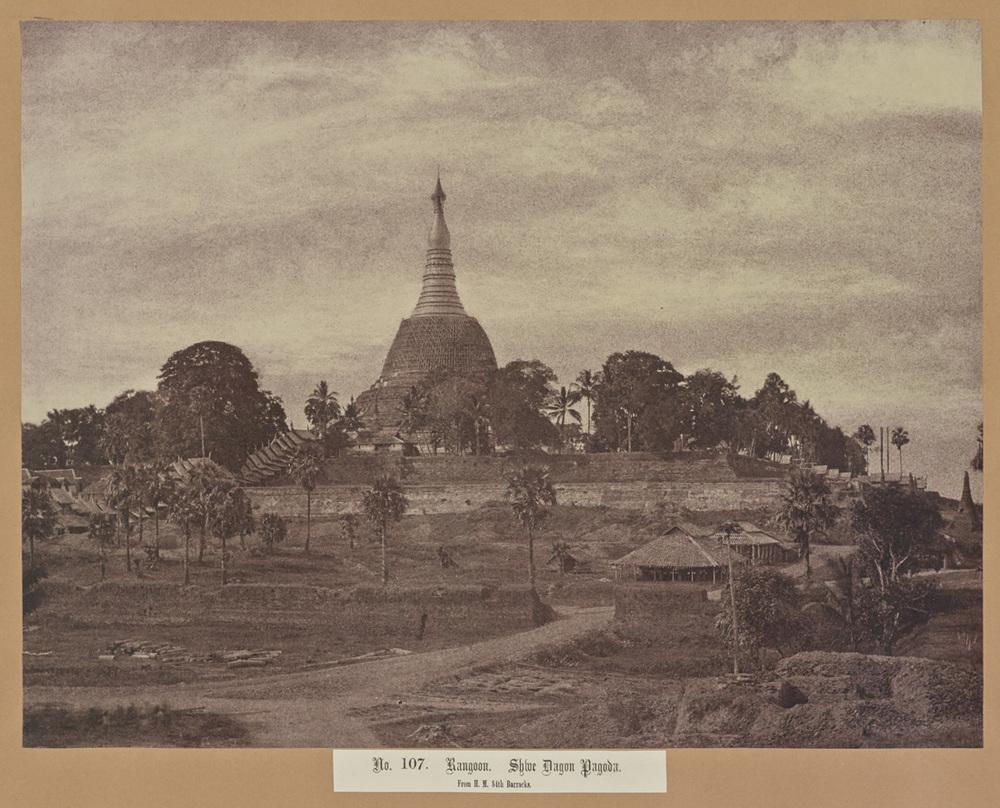 Capt. Linneaus Tripe (British, 1822 - 1902)  No. 107. Rangoon. Shwe Dagon Pagoda , 1855, Salted paper print 26.3 x 34.9 cm (10 3/8 x 13 3/4 in.) The J. Paul Getty Museum, Los Angeles