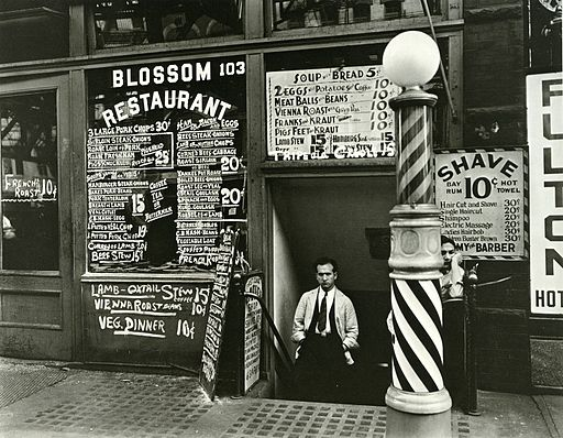 Blossom Restaurant; 103 Bowery - 1935   By Berenice Abbott [Public domain], via Wikimedia Commons