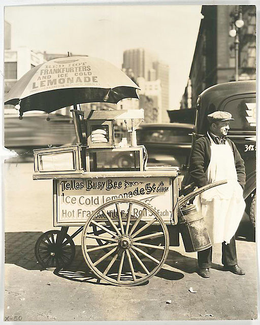 Hot Dog Stand West St and North Moore Manhattan - 1936   By Berenice Abbott [Public domain], via Wikimedia Commons