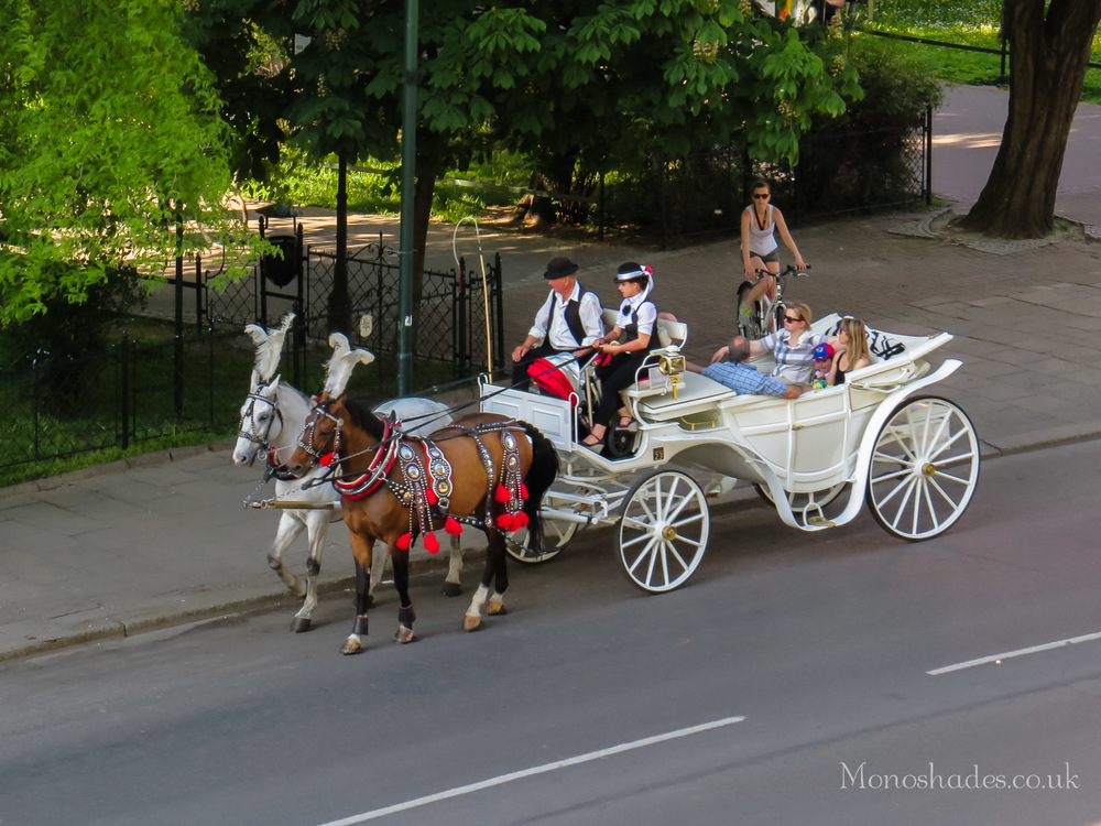 Dorozka (horse carriage) with tourists