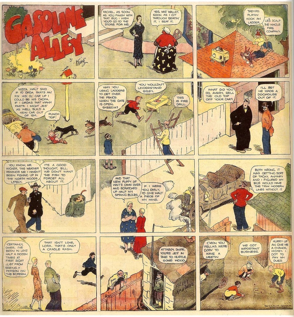 A splash from Frank King's Gasonline Alley, which takes a typically ambitious global view of a scene within its 12 panels. Taken from The Comics Reporter