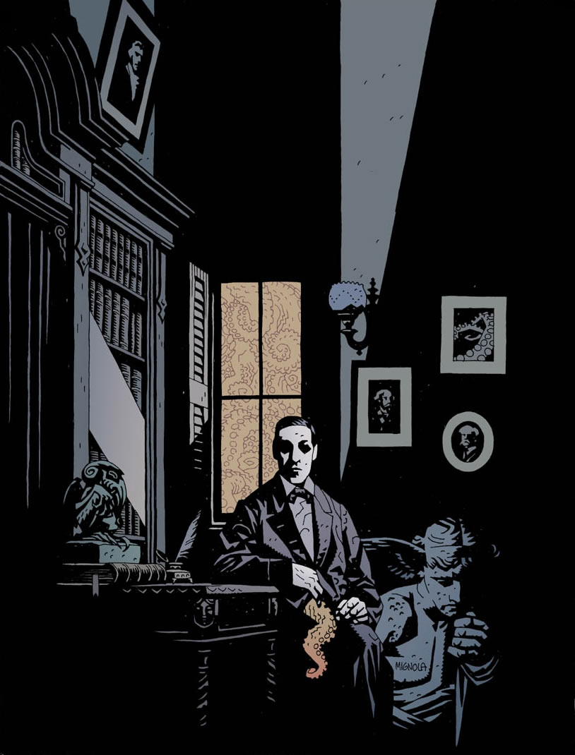 Mike Mignola's portrait of H.P. Lovecraft