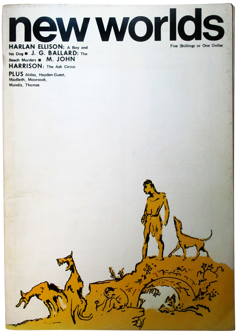 Cover art for an issue of Moorcock's speculative fiction magazine New Worlds, culled from this lovely retrospective of its art director, Charles Platt.