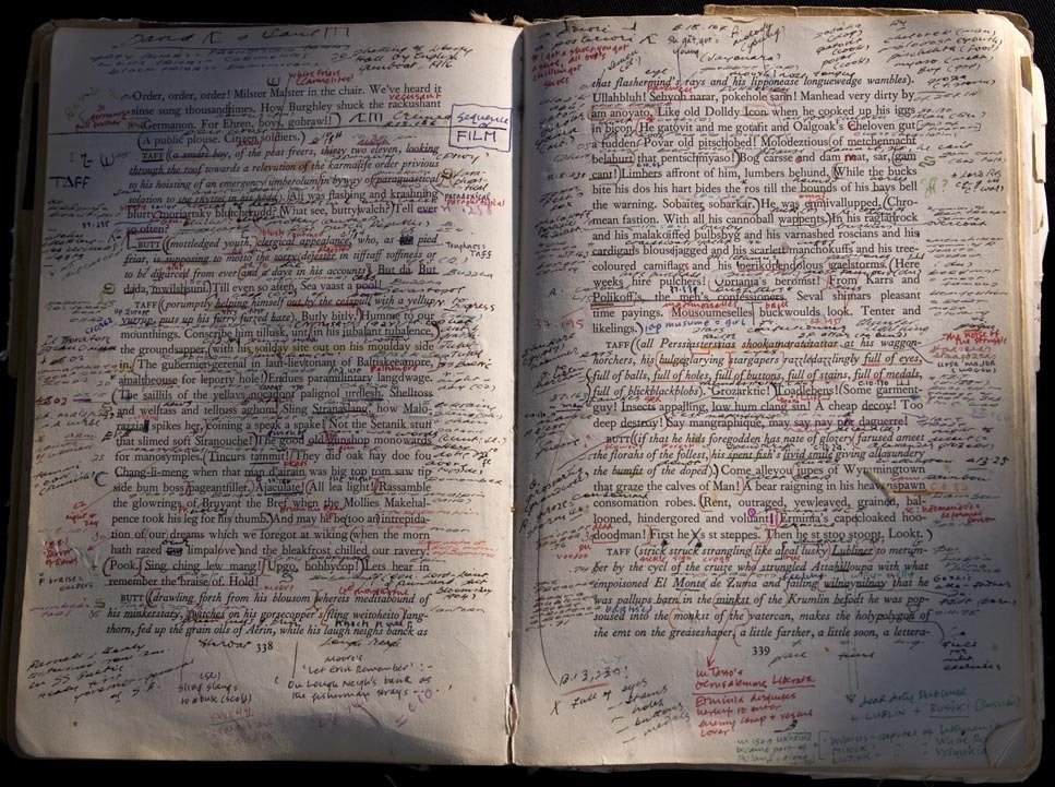 An annotated glance at Finnegans Wake, as cribbed from one of the more ambitious entries on ostensibly rap-lyric-focused annotation site, Genius.